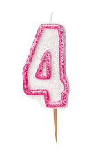 Number Four Pink Glitz Birthday Cake Candle